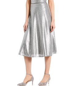 Antonio Melani Sica Metallic Sequined Flared Midi