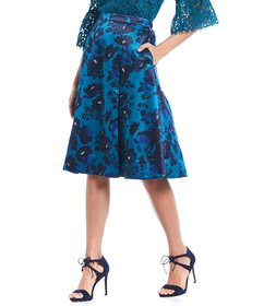 Draper James Collection Floral Print A-Line Midi S