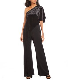 Adrianna Papell Velvet One Shoulder Jumpsuit