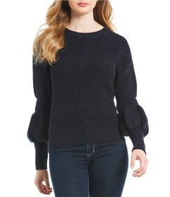 Chelsea & Violet Bishop Sleeve Crew Neck Sweater