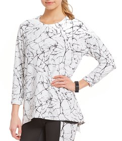 Copper Fit Pro Marble Print Split Back Long Sleeve