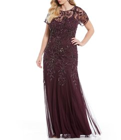 Adrianna Papell Plus Floral Beaded Gown