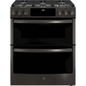 GE - 6.7 Cu. Ft. Slide-In Double Oven Gas Convecti