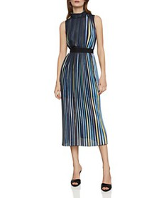 BCBGMAXAZRIA - Belted Pleated Striped Midi Dress