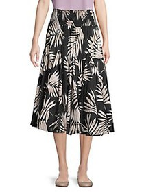 Context Tonal Palm Frond A-Line Midi Skirt BLACK