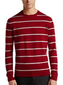 Calvin Klein Red & Gray Stripe Crew Neck Sweater