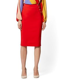 High-Rise Button-Accent Pencil Skirt - All-Season