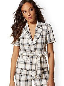 Plaid Belted Jacket - 7th Avenue - New York & Comp