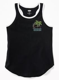 Graphic Curved-Hem Tank for Girls