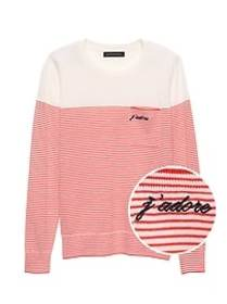 Petite J'adore Stripe Pocket Sweater