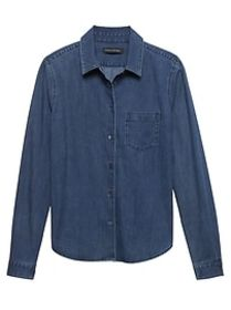 Petite Quinn Straight-Fit Stretch Denim Shirt