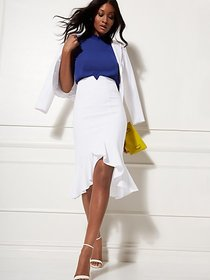 White Fit and Flare Skirt - All-Season Stretch - 7