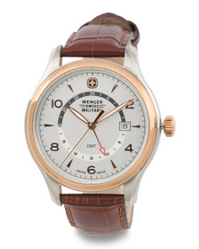 WENGER Men's Swiss Made Executive Gmt Leather Stra