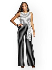 Petite Stripe Tie-Front Jumpsuit - New York & Comp