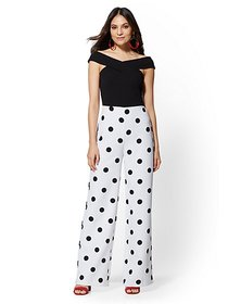Petite Dot-Print Off-The-Shoulder Jumpsuit - New Y