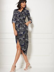 Tall Black Newsprint Belted Shirtdress - New York