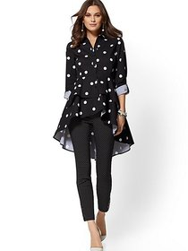 Black Dot-Print Tiered Hi-Lo Poplin Shirt - New Yo