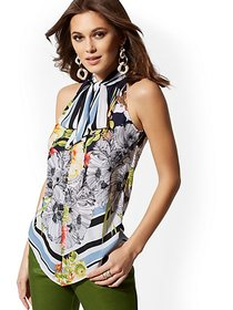 Tall Floral Tie-Detail Halter Blouse - 7th Avenue