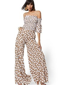 Petite Brown Dot-Print Palazzo Pant - 7th Avenue -