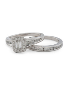 MARCHESA 14k White Gold Diamond Bridal Ring Set