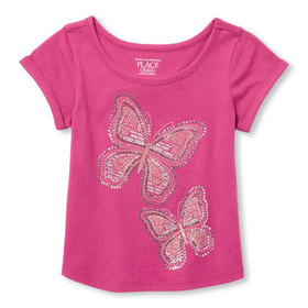 Baby And Toddler Girls Short Rolled Sleeve Embelli