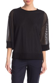 DKNY Sheer Ribbed Pullover Sweater