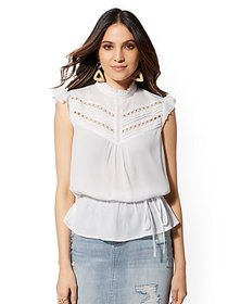 White Embroidered Peplum Top - New York & Company