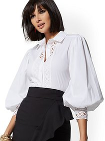 White Lace Poplin Bib Blouse - New York & Company