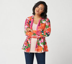 """As Is"" Isaac Mizrahi Live! Floral Printed Zip-Fro"