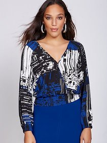 Print V-Neck Wrap Blouse - Gabrielle Union Collect