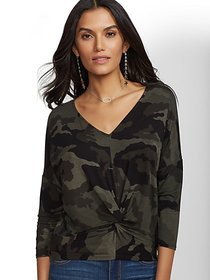 Camo Twist-Front Top - Soho Soft Tee - New York &