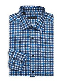 Saks Fifth Avenue COLLECTION Checked Dress Shirt B