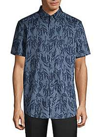 Ben Sherman Frond Print Short-Sleeve Shirt NAVY