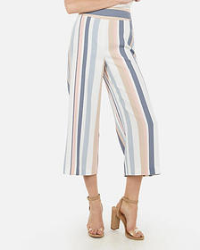 Express super high waisted multi-stripe culottes