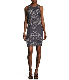Adrianna Papell Beaded Floral Sequin Sheath Dress