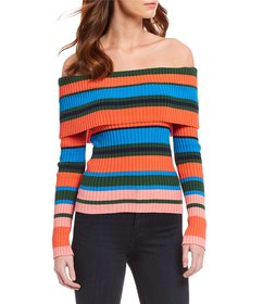 Ella Moss Charlotte Off-the-Shoulder Striped Popov