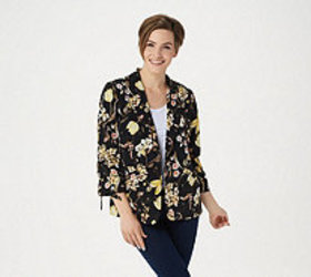 Susan Graver Printed Peachskin Blazer with Ruched