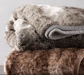 Pottery Barn Faux Fur Ombre Throws