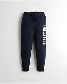 Hollister Mid-Rise Fleece Joggers, NAVY
