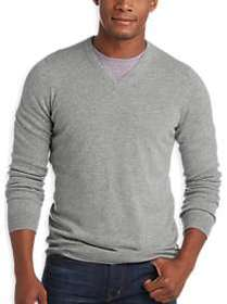 Joseph Abboud Light Gray V-Neck Cashmere Sweater