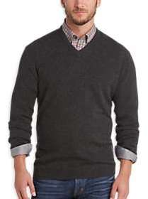 Joseph Abboud Charcoal V-Neck Cashmere Sweater