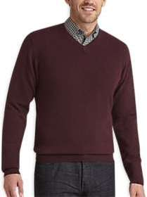 Joseph Abboud Wine V-Neck Cashmere Sweater