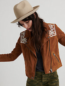 Lucky Brand Fringe Suede Moto