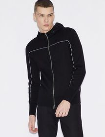 Armani PULLOVER WITH ZIP, HOOD AND CONTRASTING PIP