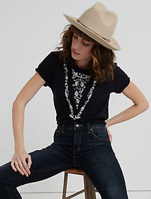 Lucky Brand Western Embroidered Neck Tee