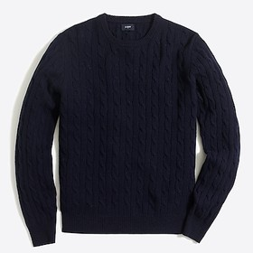 J. Crew Lambswool cable crewneck sweater