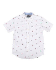 Nautica stretch allover anchor print shirt (8-20)