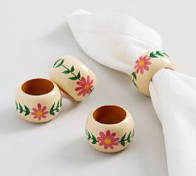Pottery Barn Painted Floral Napkin Ring, Set of 4