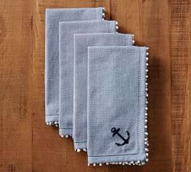 Pottery Barn Anchor Embroidered Napkin