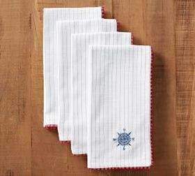 Pottery Barn Compass Embroidered Napkin